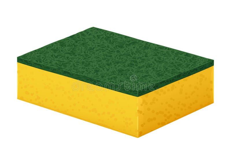 Gele schuimrubberspons om schotels met een harde groene schoonmakende deklaag te wassen royalty-vrije illustratie