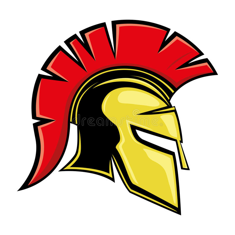 Gele Spartaanse helm stock illustratie