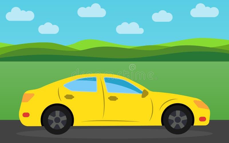 Gele sportwagen op de achtergrond van aardlandschap in de dag royalty-vrije illustratie