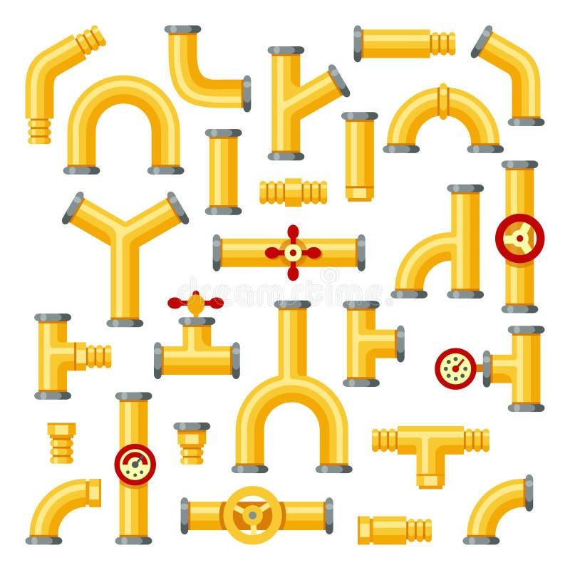 Gele staalpijpen De industriële gele pijpen, pijpbouw met kleppen en pijpleidingen isoleerden elementen vectorreeks stock illustratie
