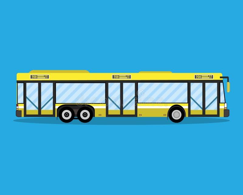 Gele stadsbus Openbaar vervoer vector illustratie