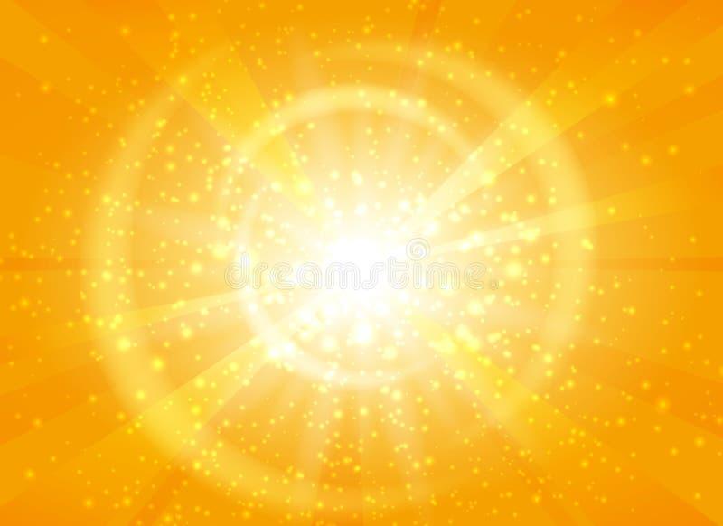 Gele starburstachtergrond met fonkelingen stock illustratie