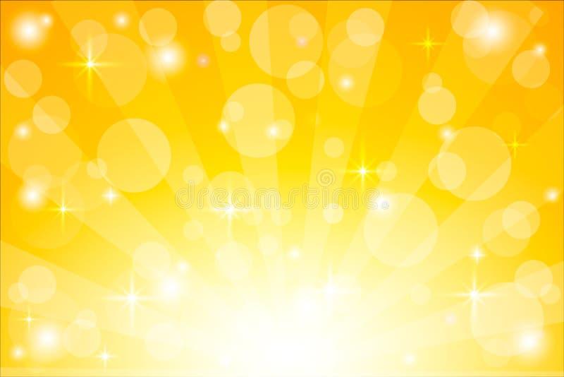 Gele starburstachtergrond met fonkelingen De glanzende vectorillustratie van zonstralen met bokehlichten royalty-vrije illustratie