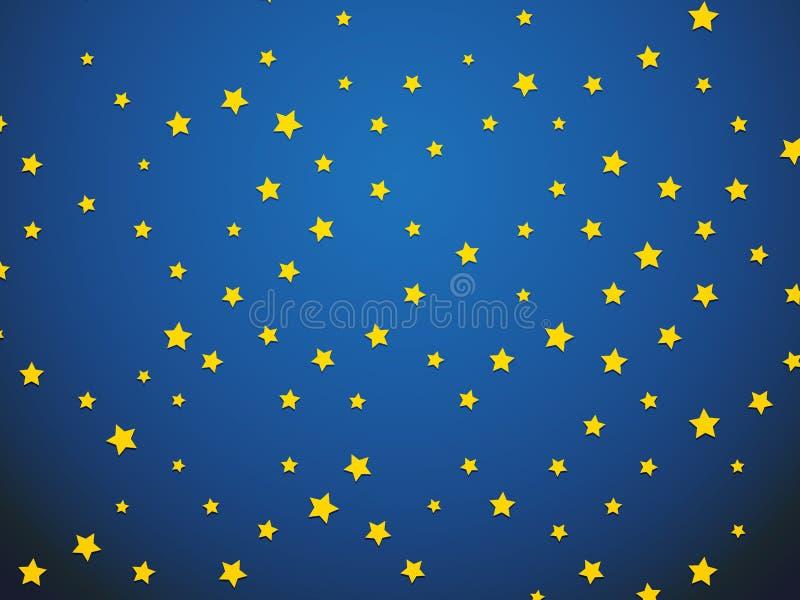 Gele ster op blauwe achtergrond stock illustratie