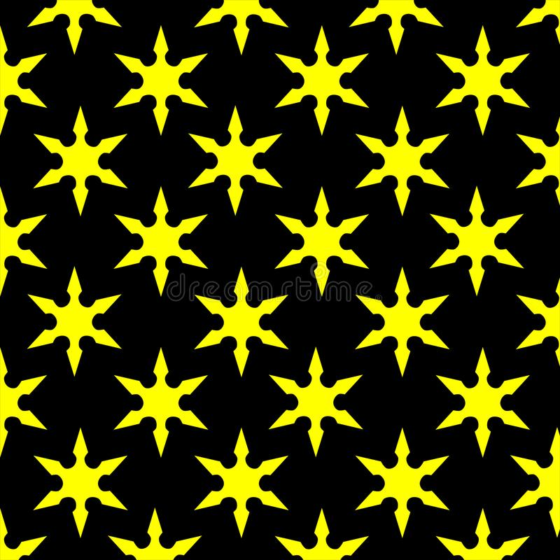 Gele Ster Zwarte Achtergrond stock afbeeldingen