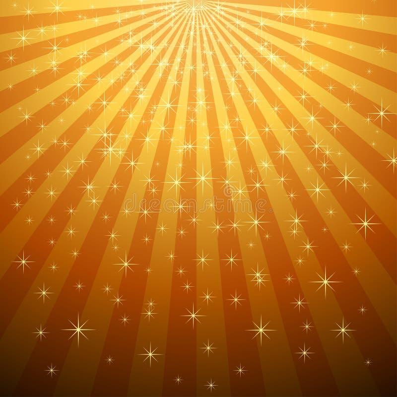 Gele steruitbarsting met sterdaling vector illustratie