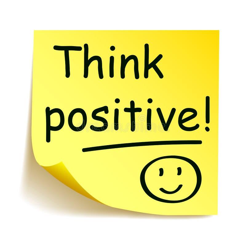 Gele sticker met zwarte post-it - ` denkt positief! `, geschreven notahand royalty-vrije illustratie