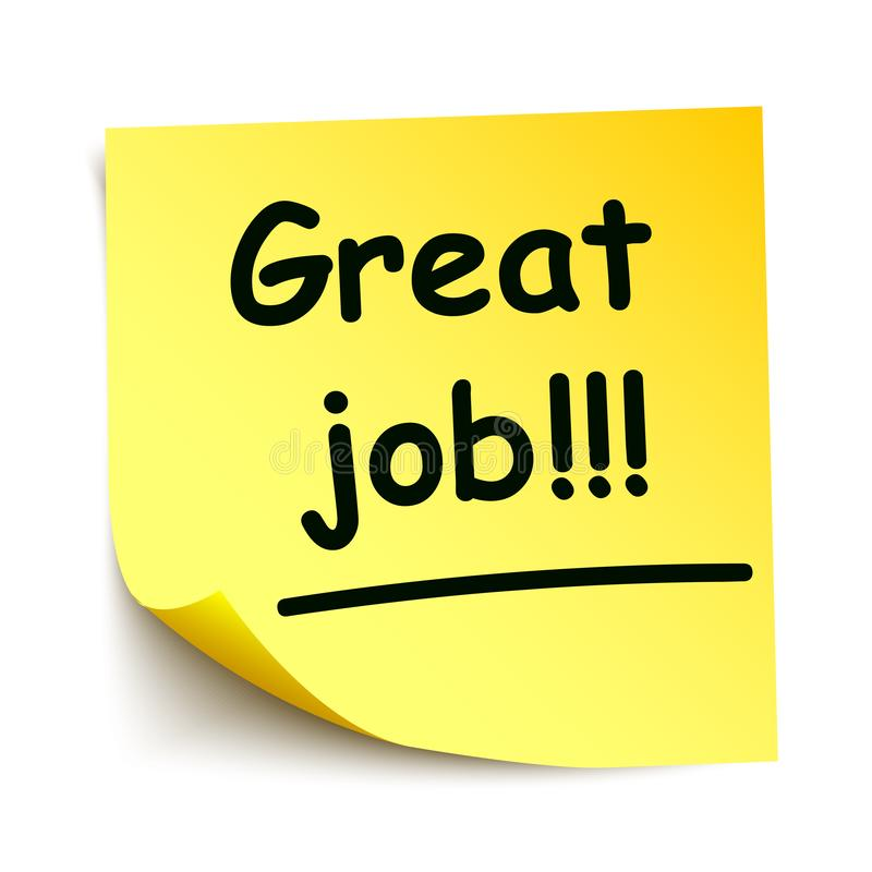 Gele sticker met zwarte stip 'Geweldige baan!!!', noteer met de hand geschreven - royalty-vrije stock fotografie