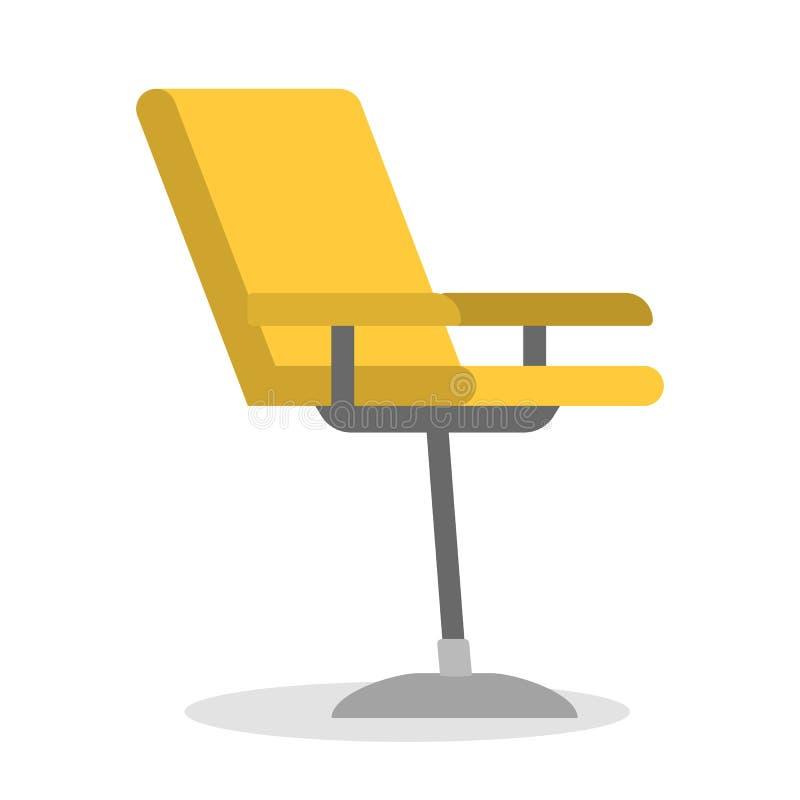 Gele stoel. Comfortabel meubilair, modern ontwerp van de stoel stock illustratie