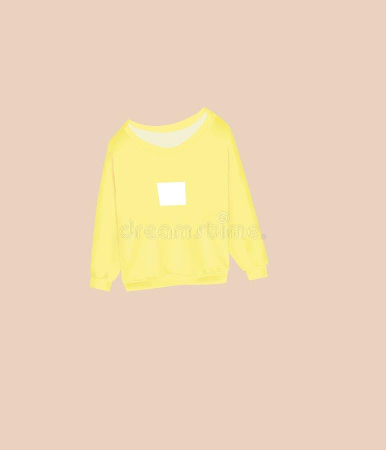Gele sweatshirtillustratie stock afbeelding