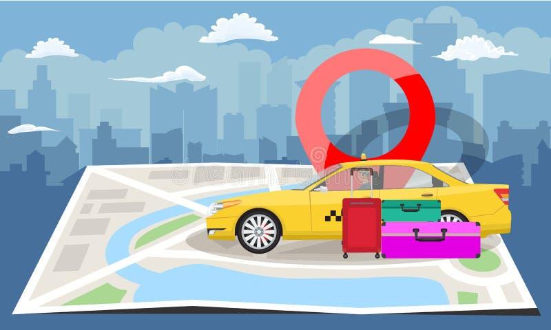 Gele taxi met zakken en rode speld over gevouwen kaart met cityscape silhouetachtergrond Vector illustratie vector illustratie
