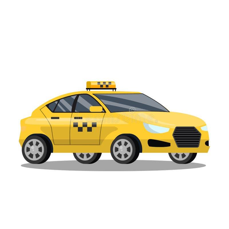 Gele taxiauto Automobiele cabine met bestuurder royalty-vrije illustratie