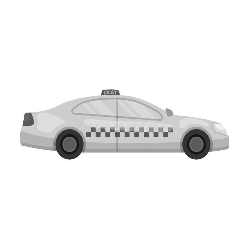 Gele taxiauto in profiel De post van de vervoertaxi voor passagiers Het enige pictogram van de taxipost in zwart-wit stijlvector vector illustratie