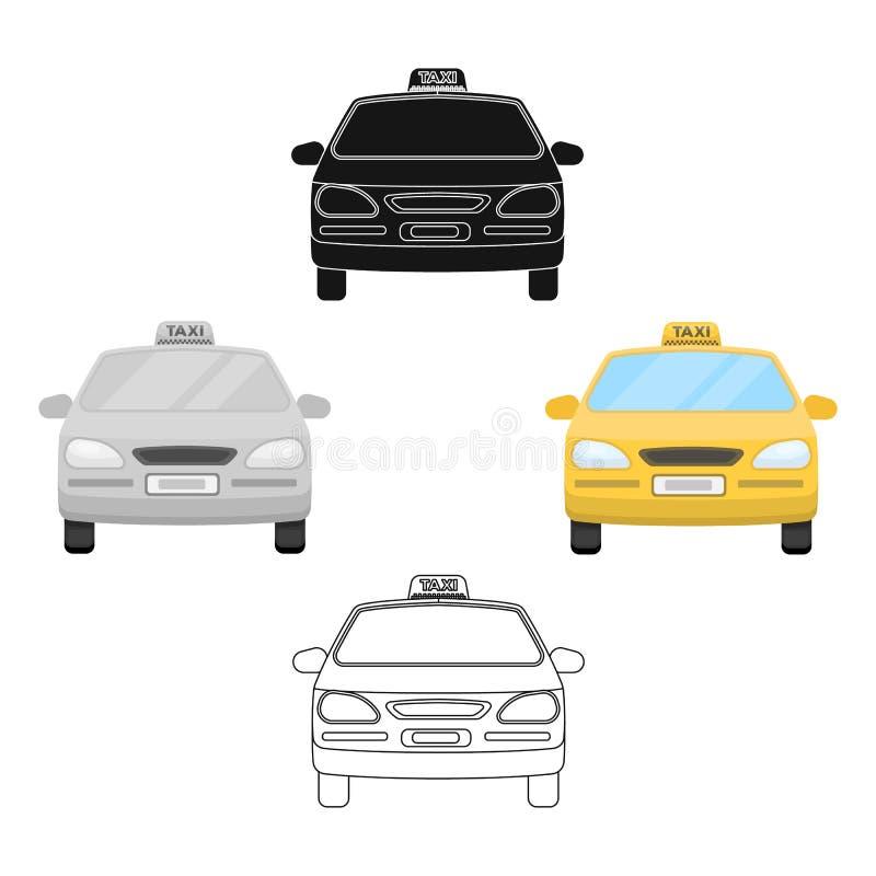 Gele taxiauto Vervoertaxis voor passagiers Het enige pictogram van de taxipost in beeldverhaal, de zwarte voorraad van het stijl  vector illustratie
