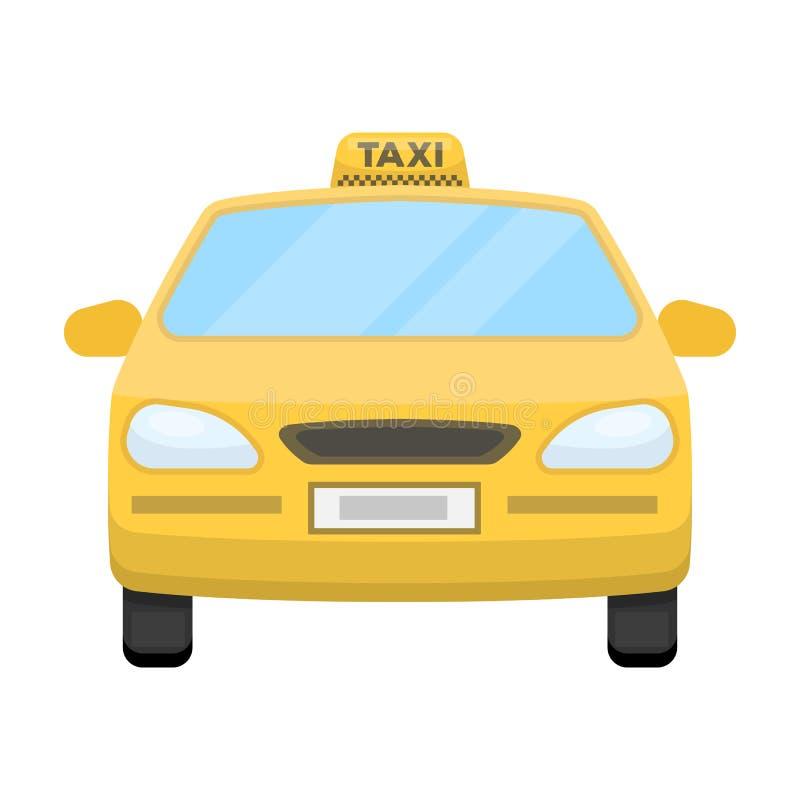 Gele taxiauto Vervoertaxis voor passagiers Het enige pictogram van de taxipost in vector het symboolvoorraad van de beeldverhaals stock illustratie