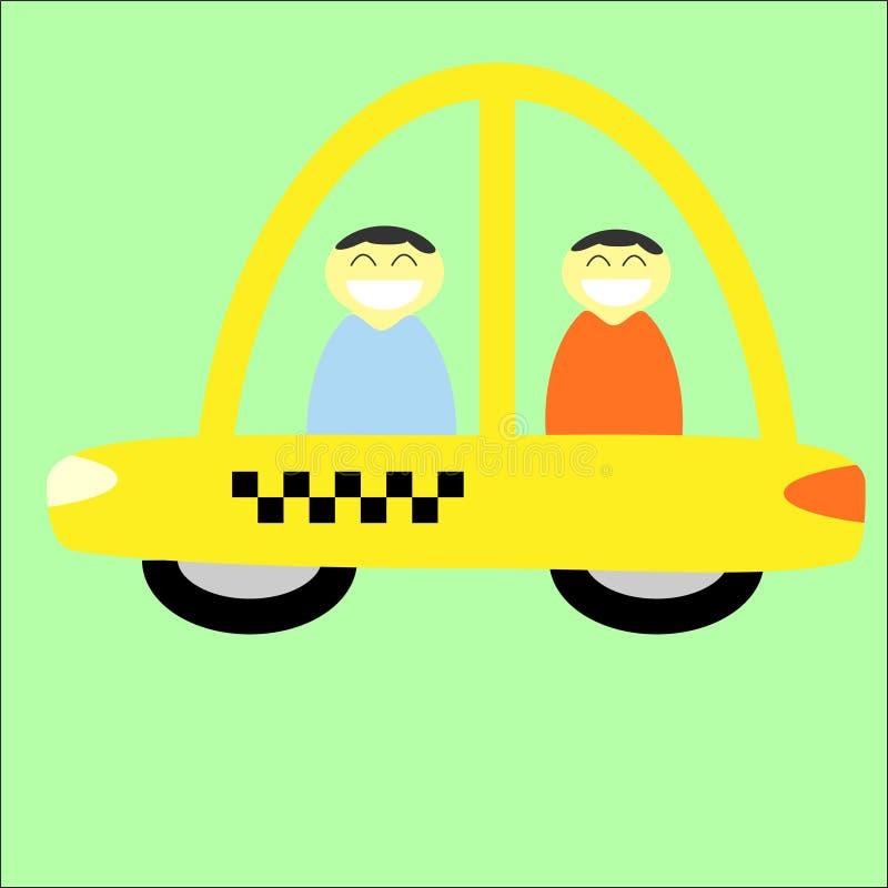 Gele taxicabine met bestuurdersans passagier vector illustratie