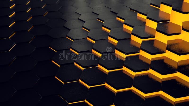Gele technologie-bijenkorf royalty-vrije illustratie