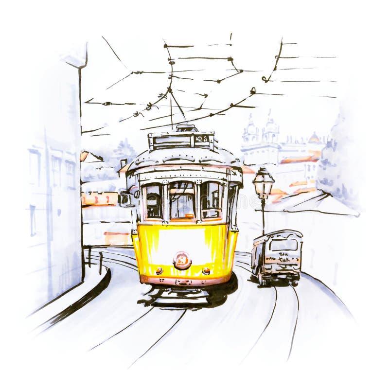 Gele tram 28 in Alfama, Lissabon, Portugal royalty-vrije illustratie