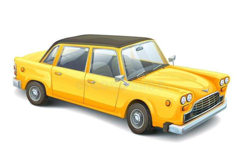 Gele uitstekende auto Hoog gedetailleerd beeld van retro auto Realistisch voertuig royalty-vrije illustratie