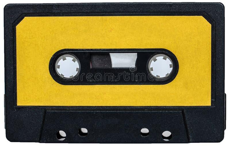 Gele uitstekende retro cassete stock foto's