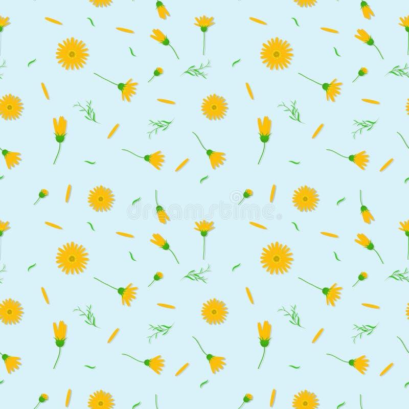 Gele van het kosmos bloemen naadloze patroon abstracte vector als achtergrond vector illustratie
