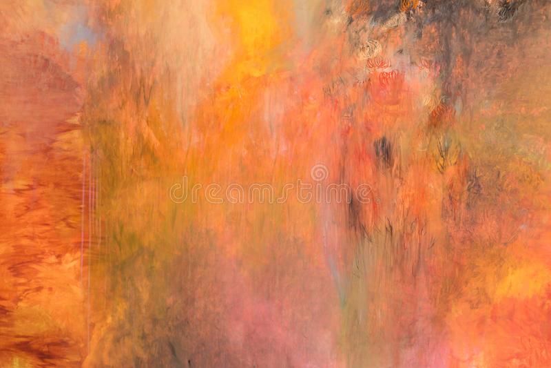 Gele verf de Slag, rood, oranje, ploetert kleur, samenvatting vector illustratie