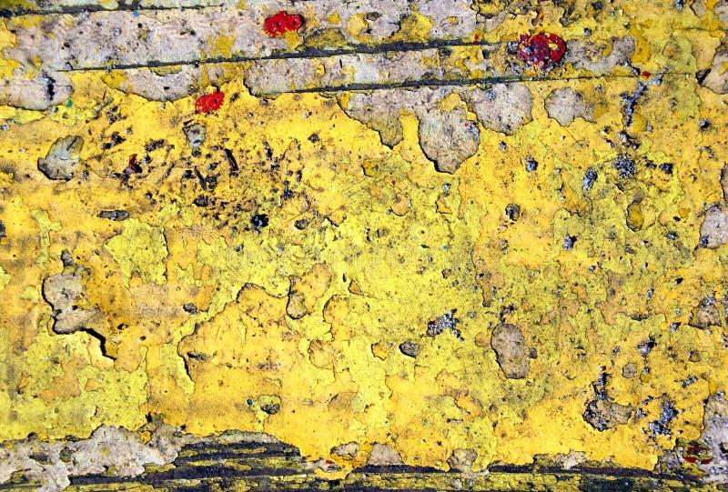 Gele verf op hout stock foto
