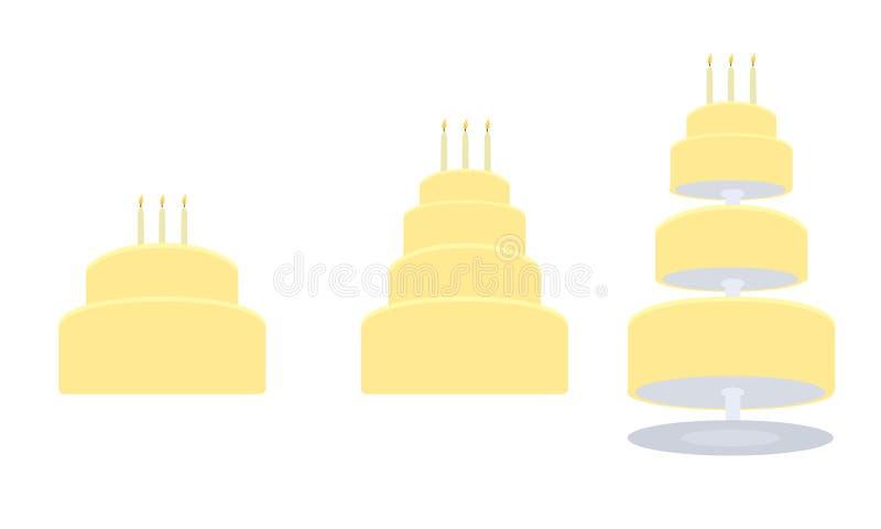 Gele verjaardagscake in drie variaties vector illustratie