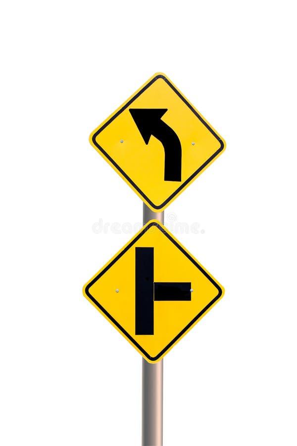 Gele verkeersteken stock foto's