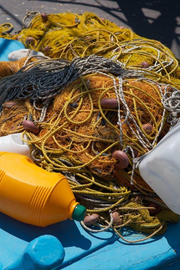 Gele visserijnetten royalty-vrije stock foto