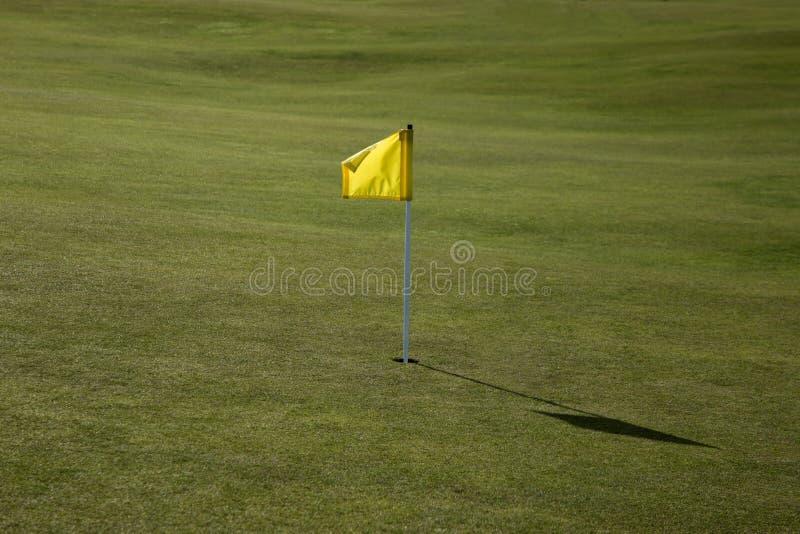 Gele Vlag op een Golfcursus stock foto's