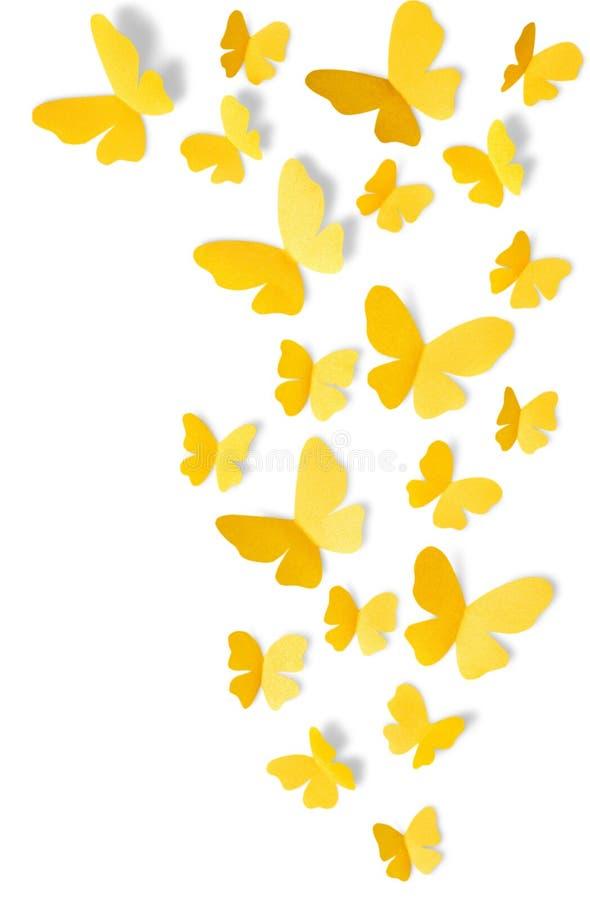 Gele vlinders op witte achtergrond stock afbeeldingen