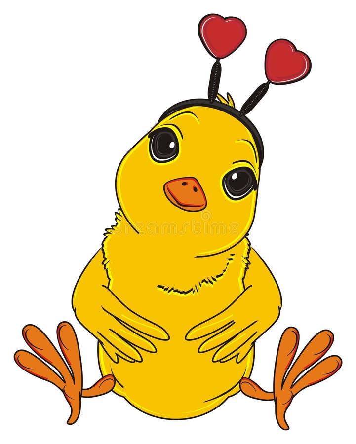 Gele vogel met hoepel op zijn hoofd royalty-vrije illustratie