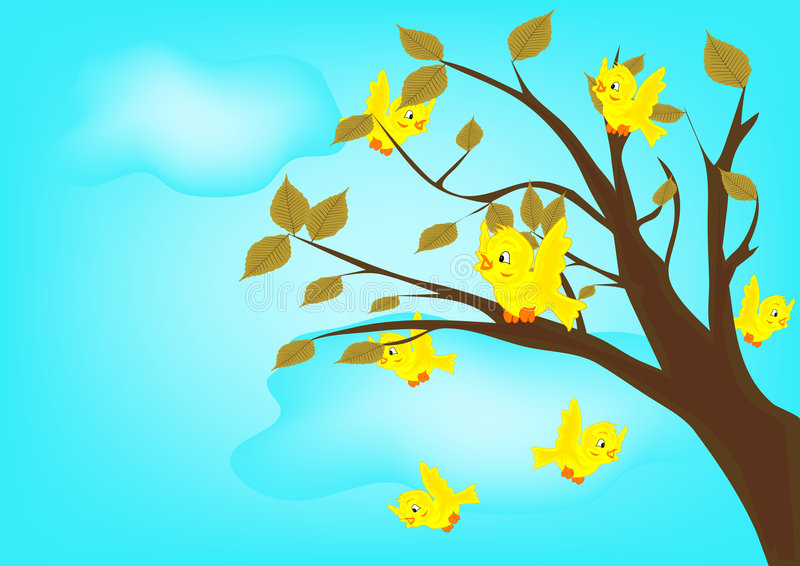 Gele vogels op boom royalty-vrije illustratie