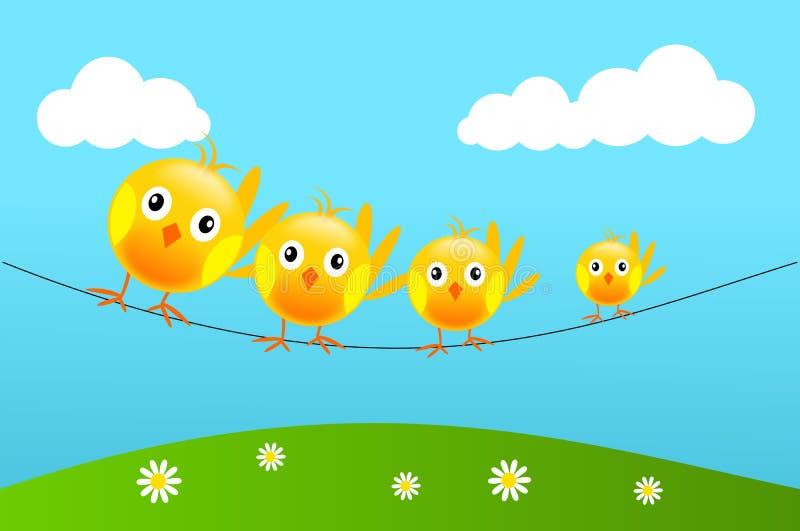 Gele vogels op draad vector illustratie