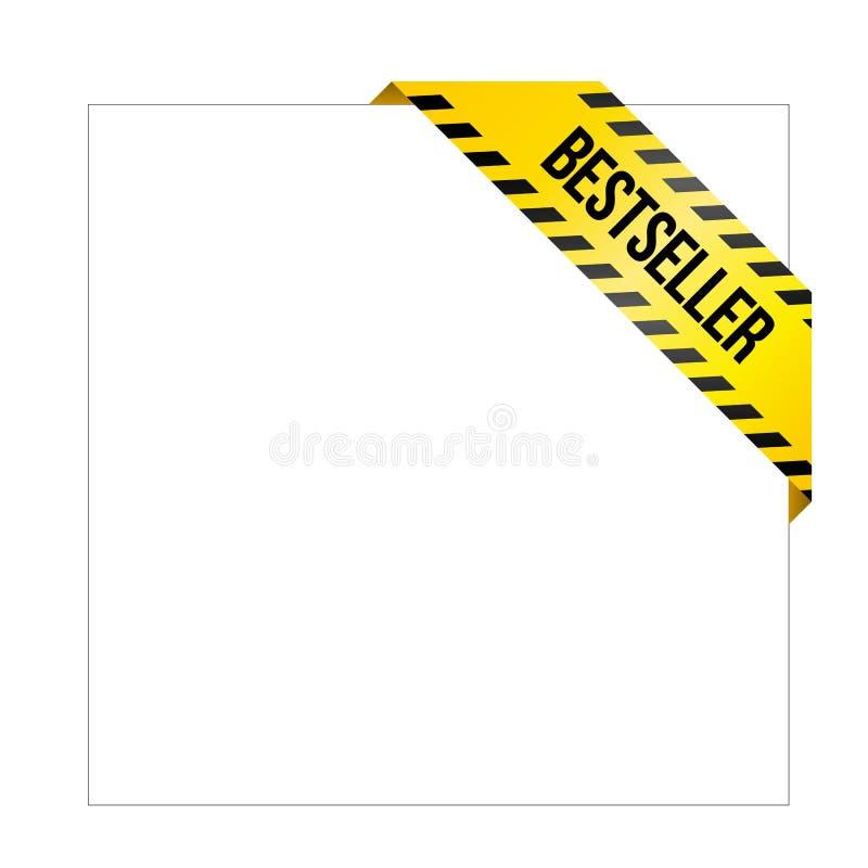 Gele voorzichtigheidsband met woorden` Best-seller ` , hoeketiket vector illustratie