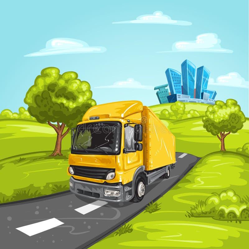 Gele vrachtwagen op asfaltweg stock afbeeldingen