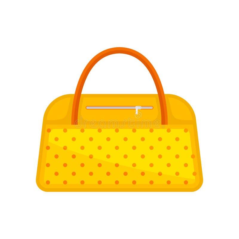 In gele vrouwenhandtas met oranje punten en handvatten De zak voor draagt persoonlijke punten Vlak vectorontwerp vector illustratie