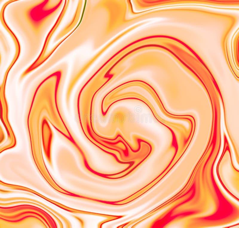 Gele wervelings abstracte achtergrond Gele en witte vloeibare mengeling van dessert, suikergoed, yoghurt royalty-vrije illustratie