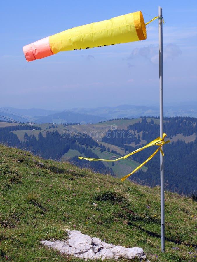 Gele windsock stock foto's