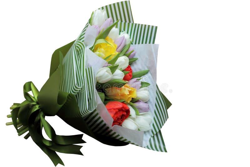 Gele, witte, rode, purpere tulpen in groen strookdocument royalty-vrije stock foto