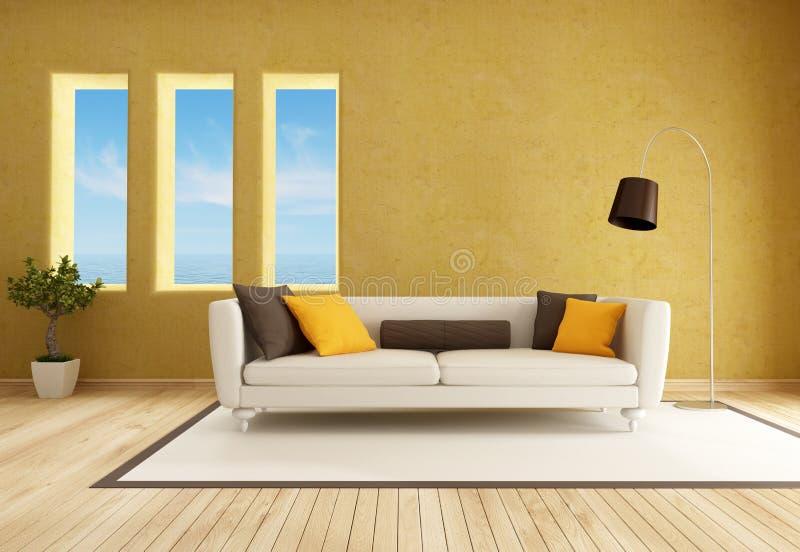 Gele woonkamer stock illustratie. Illustratie bestaande uit lamp ...