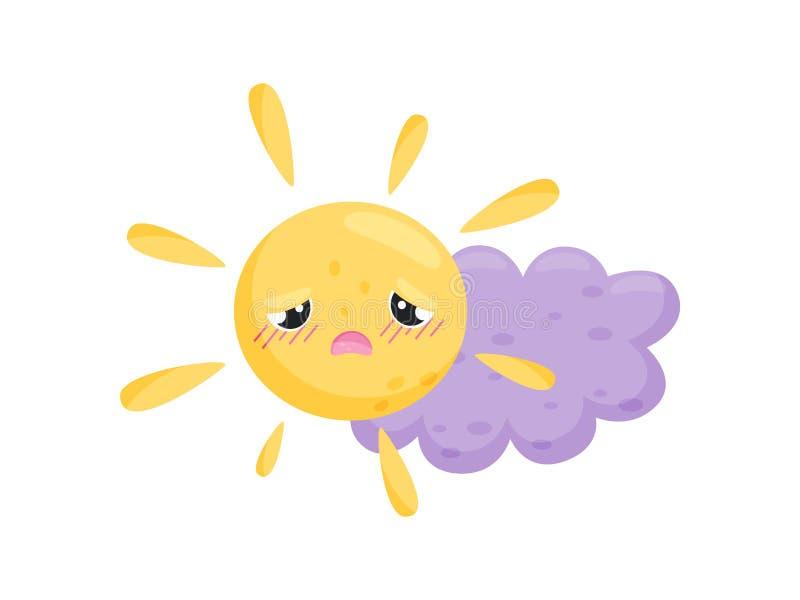 Gele zon en purpere wolk op witte achtergrond royalty-vrije illustratie