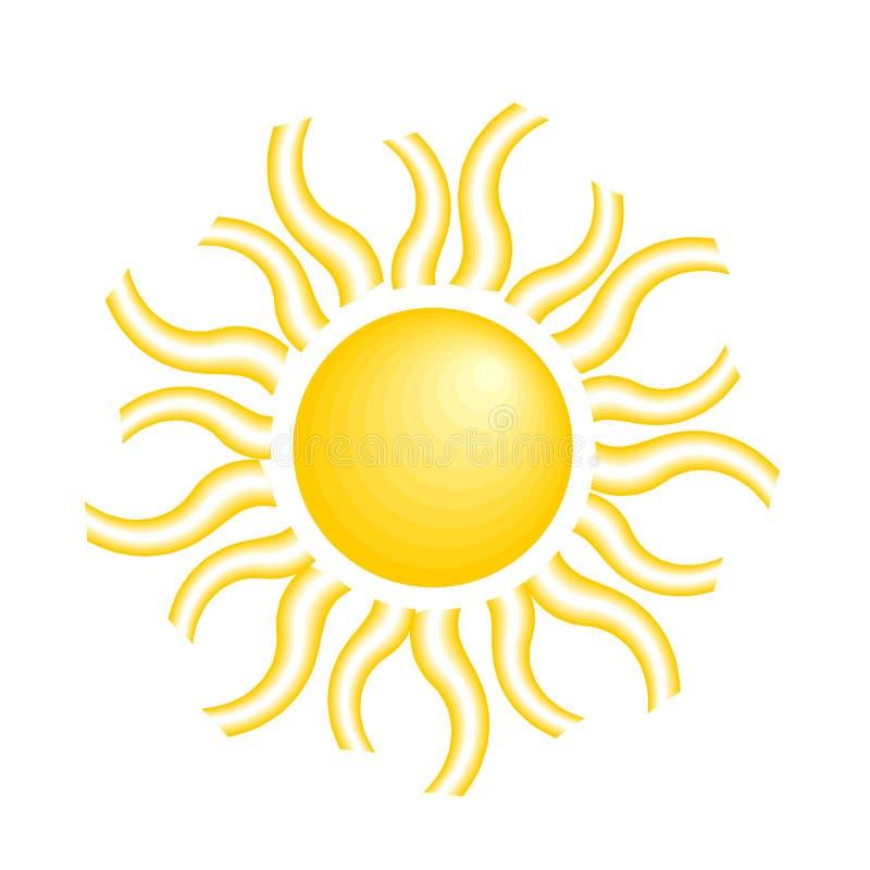 Gele zon op wit stock illustratie