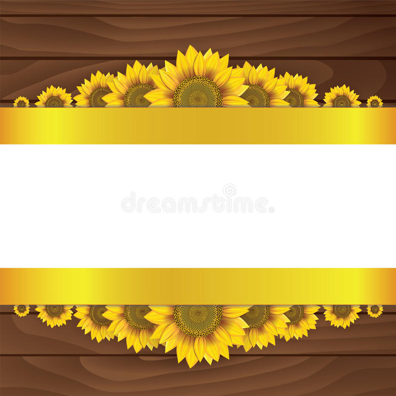 Gele zonnebloemen op houten achtergrond vector illustratie