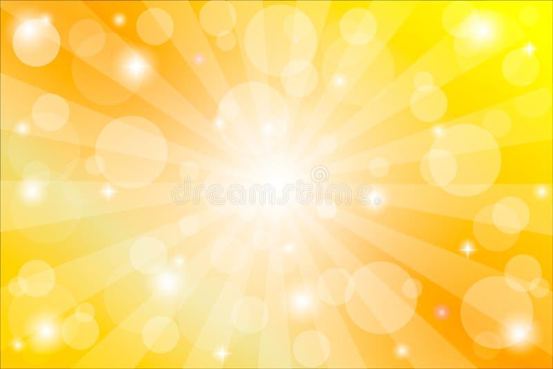 Gele zonnestraalachtergrond met fonkelingen en stralen, vectorillustratie stock illustratie
