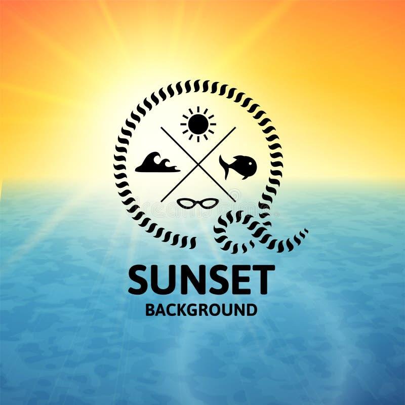 Gele zonsondergang met blauwe water overzeese oppervlakte royalty-vrije illustratie
