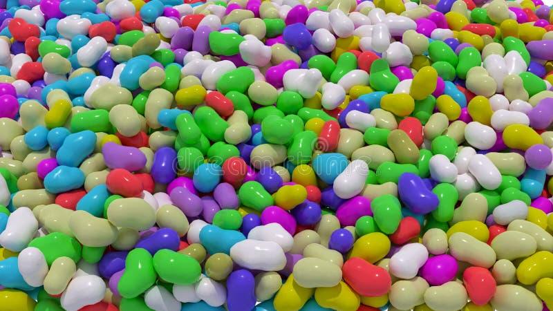 Gelebohnen, geschreddert, mehrfarbig Candy-Hintergrundbild 3D-Rendering vektor abbildung