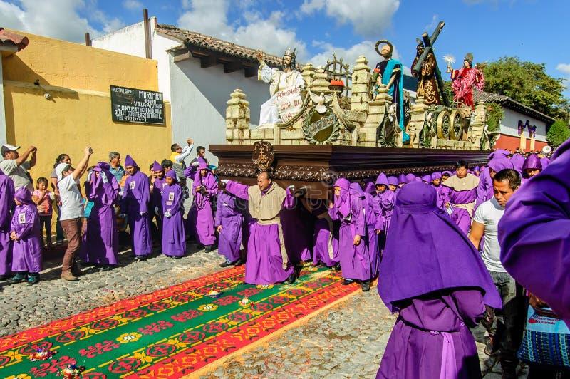 Geleende optocht, Antigua, Guatemala stock afbeeldingen