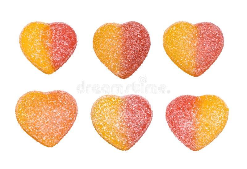 Geleesüßigkeiten in Form von den Herzen lokalisiert auf weißem Hintergrund lizenzfreie stockbilder